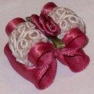 Dog bow Ruffled Rose Lace - 7/8 Shih Tzu Yorkie Maltese