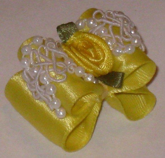 Dog bow- Yellow beaded lace- 7/8 Shih Tzu Yorkie Maltese