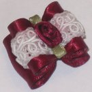 Dog bow- Red ruffled lace - 7/8 Shih Tzu Yorkie Maltese