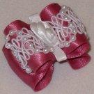 Dog bow- Rose beaded lace - 7/8 Shih Tzu Yorkie Maltese