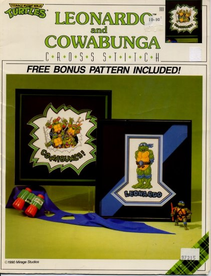 Teanage Mutant Turtles Leonardo and Cowabunga Cross Stitch Charts