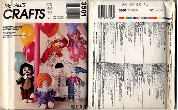"""McCall's Crafts 3501 Clownin' Around 6 Stuffed Dolls Patterns 23"""" Tall"""
