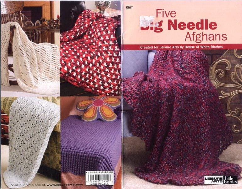 Knit Five Big Needle Afghans - Leisure Arts little books - 75139