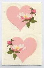 Mrs Grossman's Pink Heart with an Open Rose Sticker 6B