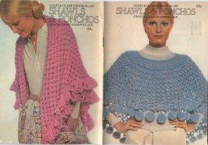 Shawls & Ponchos Coats & Clark's Book 207 Crochet - Knit - Hairpin Lace