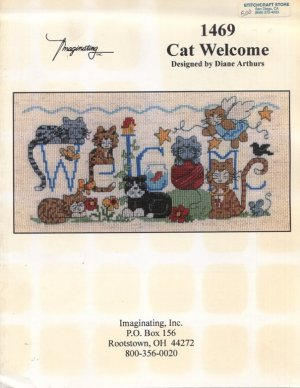 Cat Welcome Cross Stitch Pattern - Imaginating 1469