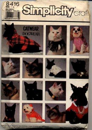 Simplicity Crafts 8416 Catwear & Dogwear Patterns - Uncut