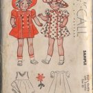 RARE Vintage 1937 McCall Sample Pattern - Doll's Outfit With Transfer, size 22