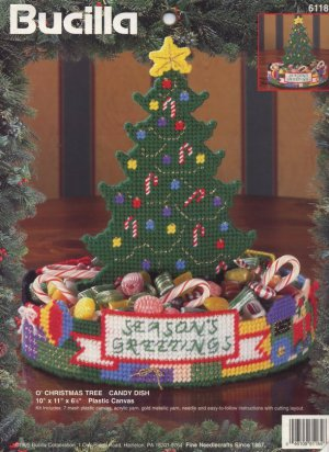 Bucilla Plastic Canvas O' Christmas Tree Candy Dish Pattern Only From Kit 61184