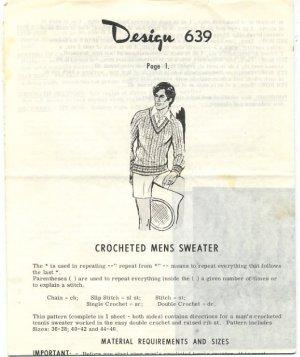 Design 639 Crocheted Mens Sweater Pattern