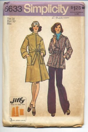 "Simplicity 6633 Misses' Jiffy Unlined Front-wrap Coat 2 Lengths Pattern Size 14 Bust 36"" - Uncut"