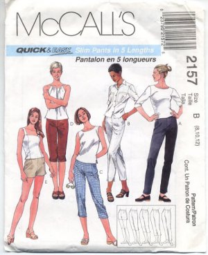 McCall's Quick & Easy Misses Slim Pants in 5 Lengths Pattern Size B (8, 10, 12) - Uncut