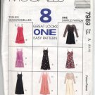 McCall's 7989 Misses' Slip-Dress & Dress Both in Two Lengths & Top Pattern Size A (6, 8, 10) - Uncut