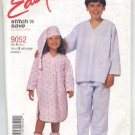 McCall's 9052 Children's Nightshirt, Pajamas, Hat & Bootees Pattern Size B (M-L) - Uncut