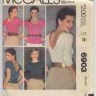 McCall's 6903 Misses' Tops - For Stretch Knits Only Pattern Size Small (10-12) Uncut