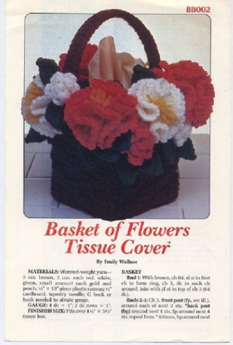 Annie's Attic Basket of Flowers Tissue Cover Crochet Pattern 8B002