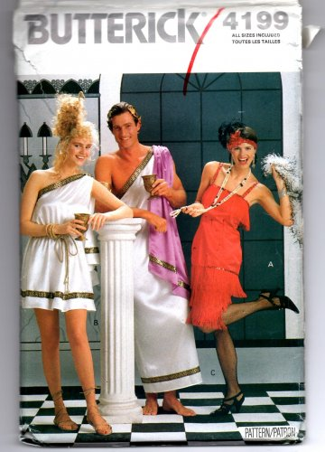 Butterick 4199 Flapper and  Misses & Mens Toga Costumes Pattern - Uncut - XS - L