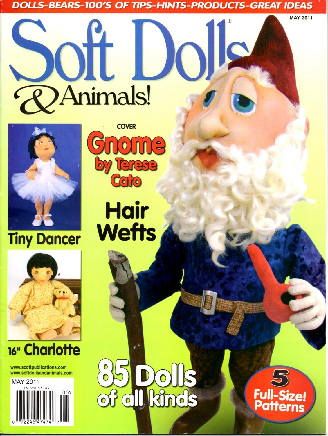 Soft Dolls & Animals! May 2011 Dolls-Bears-100's of Tips-Hints-Products-Great Ideas magazine