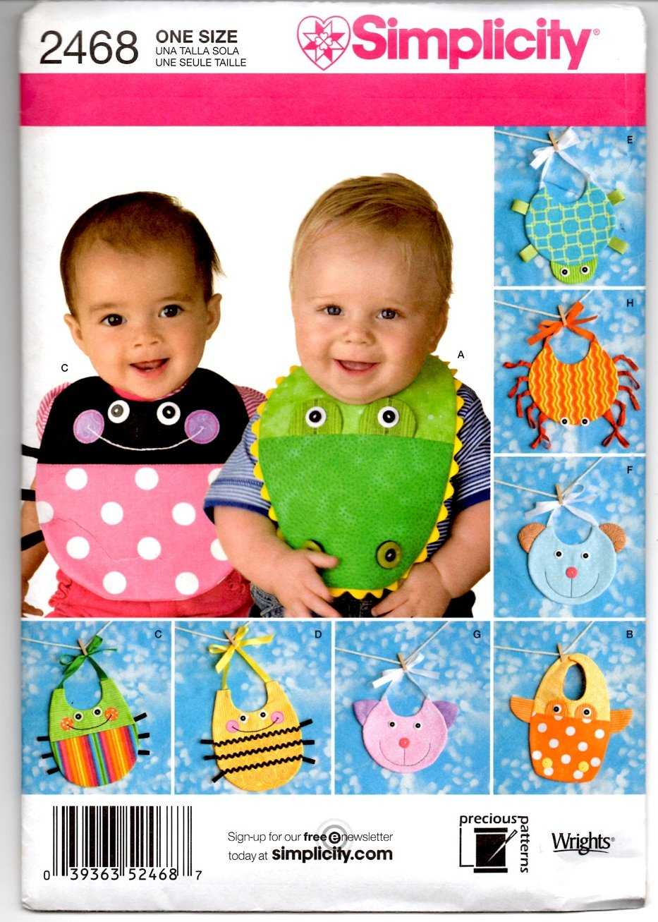 Simplicity 2468 Baby Bib Patterns - Uncut