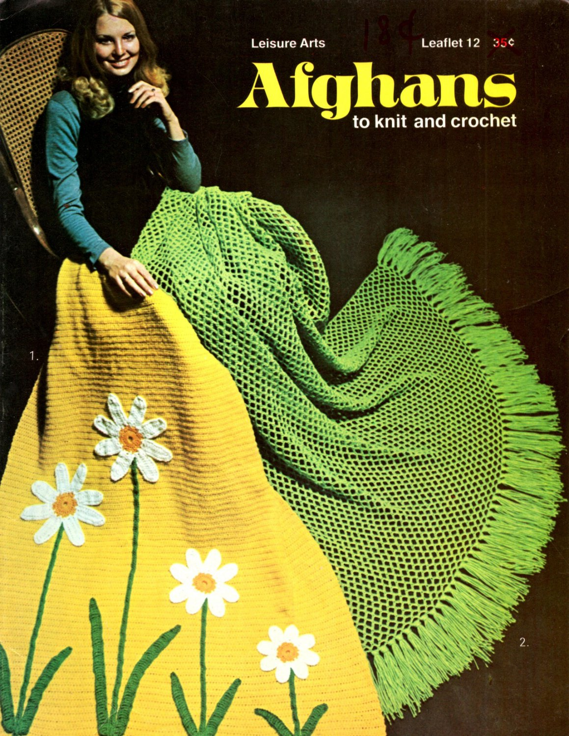 Afghans to Knit and Crochet - Leisure Arts Leaflet 12 Field Of Daisies