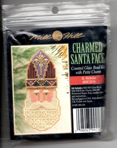 Mill Hill Charmed Santa Face Counted Glass Bead Kit with Petite Charm MHCSF16 St Nicholas