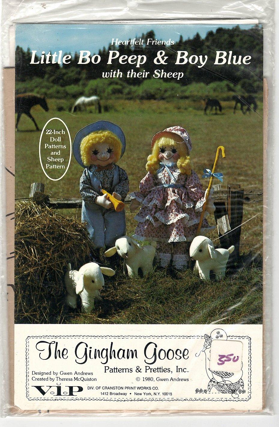 Little Bo Peep & Boy Blue & Their Sheep Pattern by The Gingham Goose - GGP 026 - Uncut