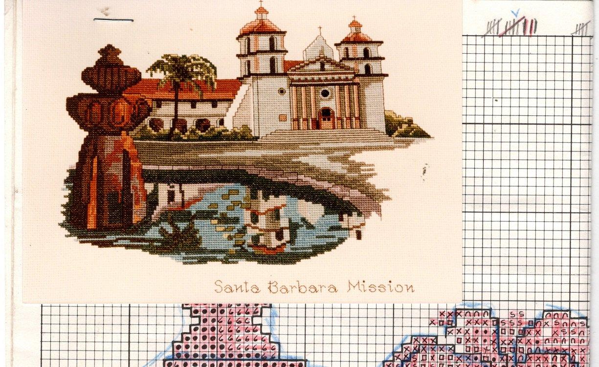 Art Ventures - Santa Barbara Mission Cross Stitch or Needlepoint Chart