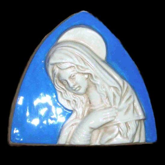 Italian Della Robbia ceramic wall plaque Madonna with child