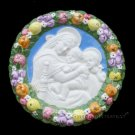 "[S08 N] 6,1-8"" Italian Della Robbia Virgin w/ child & baby St.John (Madonna of the chair) ceramic"