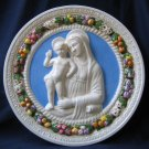 "[S49 A] 16,1/8"" Italian Della Robbia ceramic plaque Madonna with child"