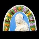 """[S53 A]  8,1/8"""" x 6,1/8"""" Madonna. Italian Della Robbia wall plaque ceramic, italy"""