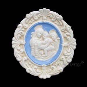 "[S94 A] 6,1/2"" Italian Della Robbia ceramic Madonna child and baby St. John (Madonna of the chair)"