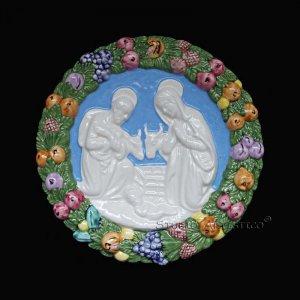 [S109 N] 7,1/2� Nativity Italian hand made Della Robbia ceramic