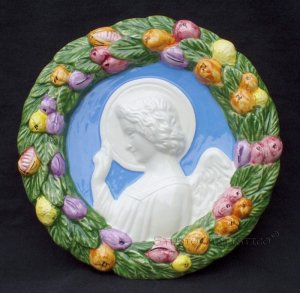 [S56 N] 6,1/2� Della Robbia ceramic plaque ANGEL Hand made in Italy