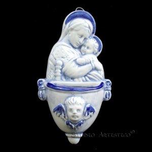 [A33 S] 4,3/4�X2,3/4� Italian Della Robbia ceramic FONT Madonna with child