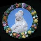 """[S60 N] 15,3/4""""  Madonna. Italian Della Robbia wall plaque ceramic, italy."""