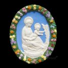 "[S136 N] 8,3-4"" Madonna with child (Virgin of the lili). Italian Della Robbia ceramic, italy."
