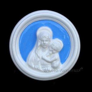 """[S151 A] 4"""" Italian Della Robbia wall plaque Madonna with child ceramic Italy."""