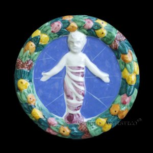 "[P05 R] 4,1/4"" Della Robbia ceramic plaque BABY IN SWADDLING CLOTHES Hand made in Italy"