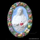 "[S86 N] 21""X14"" SACRED HEART OF JESUS Della Robbia ceramic. Hand made, Italy"