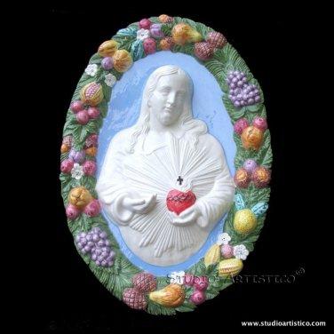 "[S86 N] 21""X14"" SACRED HEART OF JESUS Della Robbia ceramic. Hand made, Italy"