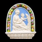 "[S54 A] 9""X10,3-4"" Italian Della Robbia ceramic Madonna with child (Virgin of the lili). Italy."