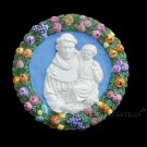 "[S176 N] 7,1/2"" ST. ANTHONY OF PADUA Della Robbia ceramic. Hand made, Italy"
