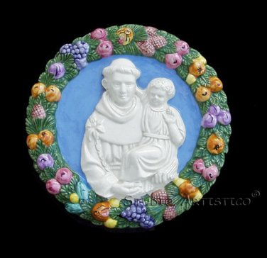 "[S176 N] 7,1/2"" ST. ANTHONY OF PADUA Della Robbia ceramic. Hand made, Italy"