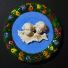 "[S184 ] 4,1/4"" Della Robbia ceramic plaque ANGELS Hand made in Italy"