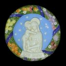 "[S87 N-B] 9"" Italian Della Robbia ceramic wall plaque Madonna with child"