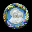 "[S88 N] 9"" Italian Della Robbia ceramic wall plaque Madonna with child"