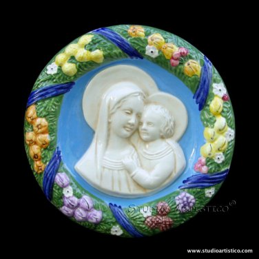 """[S88 N] 9"""" Italian Della Robbia ceramic wall plaque Madonna with child"""