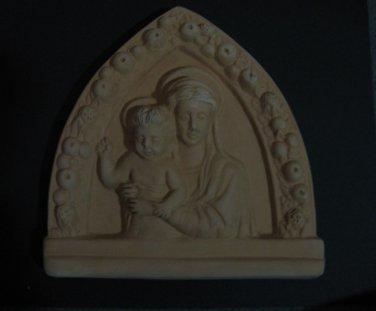 """[N02a] 7""""x7"""" Italian Della Robbia TERRA COTTA plaque Madonna with child Italy"""