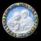 "[S134 N] 11,1/2"" Italian hand made Della Robbia ceramic wall plaque HOLY FAMILY"